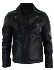 Mens Slim Fit Cross Zip Retro Vintage Brando Real Leather Jacket Vintage Biker