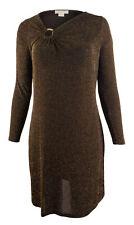 MICHAEL Michael Kors Women's Plus Size Metallic Asymmetrical V Neck Dress