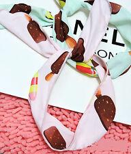 Women Girl ice cream retro Wire Chiffon Bunny Ear bow scarf Hair head band Wrap