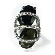 bague plaqué or rétro cabochons noir et fumée cristal Swarovski