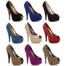 Plataforma Para Mujer Damas Tacón Alto Peep Toe Peeptoe bombas Clásico Tribunal Zapatos Talla