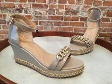 efc1dfaefab6 DG2 Diane Gilman Beige Ankle Strap Chain Detail Platform Wedge Sandal NEW