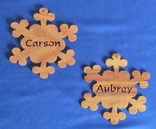 Unique Hand Cut Canarywood Horizontal Name Ornament