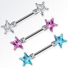 """Nipple Rings Barbells Pair of Double Star Gem 14 Gauge 1/2"""""""