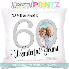 ❤ Cuscino Personalizzato Anniversario Nozze Di Diamante 60TH Amore Mr & Mrs regalo foto ❤