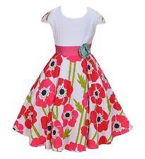 fille blanc neuf et Rose Vif Fleur Rose Robe Soirée dans 6 7 8 9 10 ans