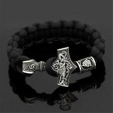 Black Men Parachute Rope Norse Viking Thor Hammer Mjolnir&Valknut Rune Bracelet