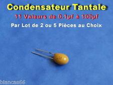*** LOT AU CHOIX DE 2 OU 5 CONDENSATEURS TANTALES - 11 VALEURS ***