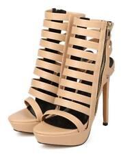 New Women Miss L Moda Leatherette Open Toe Caged Single Sole Stiletto Sandal Sz