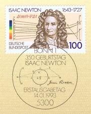 BRD 1993: Isaac Newton Nr 1646 mit sauberem Bonner Ersttagssonderstempel 1A 1703