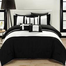 Fiesta Black & White 10 Piece Color Block Comforter Bed In A Bag Set