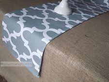 Gray Quatrefoil Table Runner Kitchen Modern Home Decor Linens Table Centerpiece