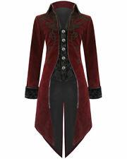 Fashion Mens Tailcoat Jacket Red Velvet Goth Steampunk Aristocrat Regency Jacket