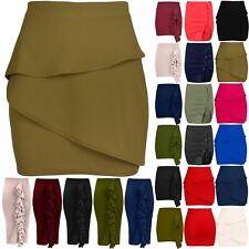 Womens Peplum Ruffle Frill Bodycon Ladies Stretchy Elasticated Waist Mini Skirt