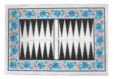 Marble Backgammon Board Turquoise Handmade Design Marquetry Patio Art Decor H463