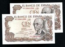 SPAINPAREJA CORRELATIVA 2 x 100 PESETAS DE 1970 PLANCHA UNC. Consecutive Numbers