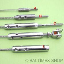 DRAHTSEIL SPANNER SEIL TERMINAL 2mm 3mm 4mm 5m 6mm EDELSTAHLSEIL TERASSENDACH