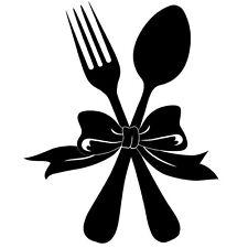 Sticker Décoration Cuisine Fourchette Cuillère avec noeud (15x12cm à 36x30cm)