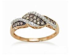 Pretty! 100% 10K Rose Gold Chocolate Brown & White Diamond Fashion Ring .21ct