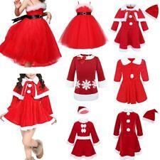 Kids Baby Girl Christmas Santa Claus Costume Faux Fur Princess Tutu Dress Outfit