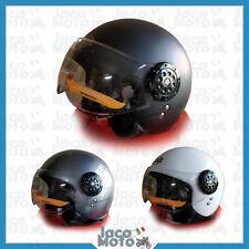 Casco Demi JET con Visiera Avio Occhiale Moto Scooter Omologato Helmet Vintage