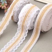 HESSIAN LACE Ribbon Jute Burlap Rustic Chic Wedding Christmas Vintage Craft Trim