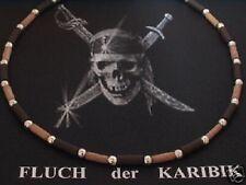 925 Silber Kette Halskette Surfer Biker Herren Männer Kautschuk braun Holz coole