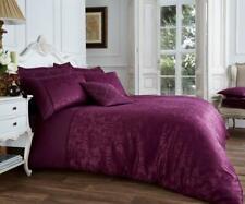 NEW Aubergine Purple Jacquard Damask Luxury Bedding Duvet Set All Sizes