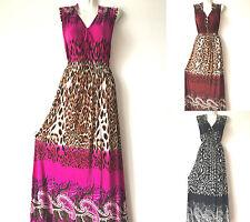 PLUS SIZE Women Long Maxi summer beach Boho evening leopard sundress
