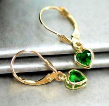 14k Yellow Gold Bezel Heart Birthstone Leverback Pierced Dangle Earrings 5x5 MM