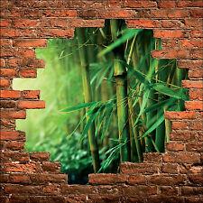Sticker mural trompe l'oeil mur de pierre déco Bambous  réf 865