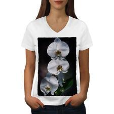 Flor Blanca Arte Naturaleza Mujer Cuello en V wellcoda Camiseta Nuevo |