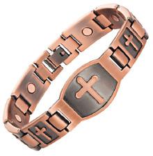 Bracelet magnétique cuivre vintage avec aimants - Croix Christus