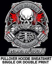 OLD SCHOOL MUSCLE HOT ROD OUTLAW SKELETON DRAG RACE CAR SKULL HOODIE SWEATSHIRT