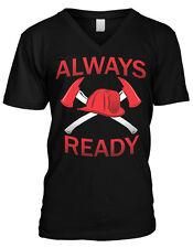 Always Ready Firemen Axes Helmet Fire Dept First Responders Mens V-neck T-shirt
