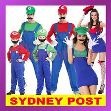 Womens Mens Kids Super Mario Luigi Brothers Plumber Fancy Dress Nintendo Costume