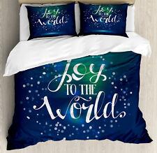 Joy Duvet Cover Set with Pillow Shams Calligraphy Joy to World Print
