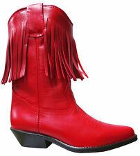 Ladies Red Genuine Leather Western Cowboy Boots 7500 with Tassels Fringe Tassle