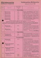 Göricke Verbraucher Preisliste 15.7.52 Goricke price list 1952 Deutschland