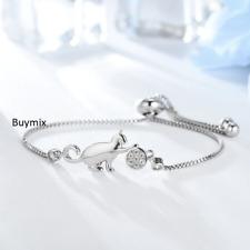 Adjustable Cat Bracelet Crystal Charm Silver Bangle Ladies Girls Jewellery Gift