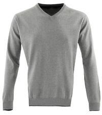 Mens Guide London Grey V Neck Jumper Sweater Medium 100% Cotton Knitwear Sale