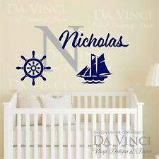 Custom Name Wall Decal Sticker Monogram Vinyl Ship Nautical Baby Room Nursery