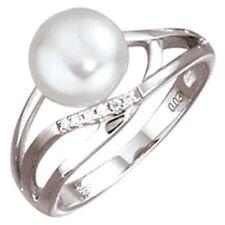 anillo mujer, Perla Cultivada & Diamantes brillantes oro 585 , oro blanco,