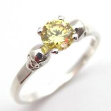 Solid Silver 1ct Lemon Sapphire Diamond-Unique Skull Engagement Ring