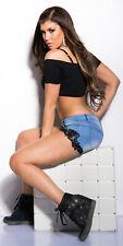 Elegante Sexy KouCla Jeans-Shorts mit Stickerei Farbe: JEANSBLUE,