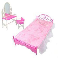 Cama de Moda Rosa Vestir conjunto mesa y sillas para Barbies Muñecas Muebles De Dormitorio
