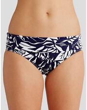 Figleaves Tobago doblez de la cintura Bikini Breve Azul Marino Blanco Floral tamaños de 142 V Nuevo