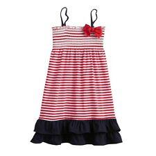 OshKosh Girls 4-6 Red White Blue Stripe Patriotic 4th July Summer Dress Sundress