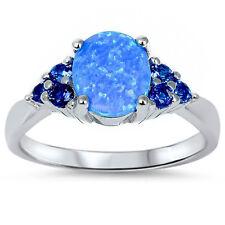 Best Seller Blue Opal Blue Sapphire .925 Sterling Silver Ring Promise Engagement