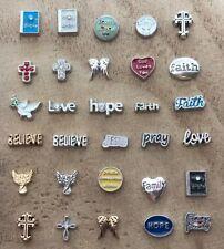God Love Me Jesus Cross Heart Angel Wings Floating Charms fit Living Lockets